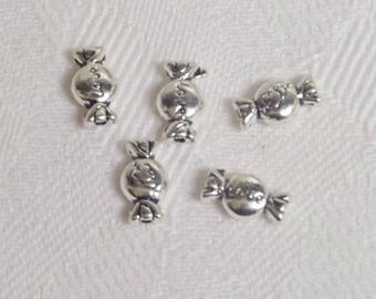 Set of 5 charm beads silver plated candy Love
