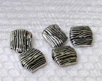 5 smooth square spacer metal beads