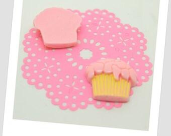 2 pink cupcake resin cabochons