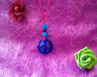 Necklace glass peace love blue
