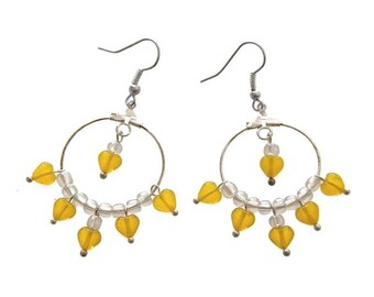 Hoop earrings round yellow hearts