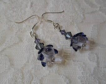 Earrings Lampwork bead and Swarovski crystals