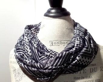 Infinity Scarf Black and White Aztec Chevron Tribal Print Knit Stretch