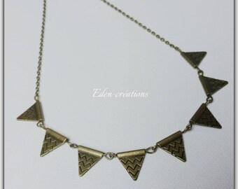 Ethnic necklace, retro, bronze, triangles, geometric, Aztec, crew neck