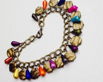 Bright multicolored charms Beads Bracelet ethnic bronze charms