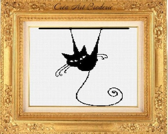 Counted cross stitch pattern cat monochrome