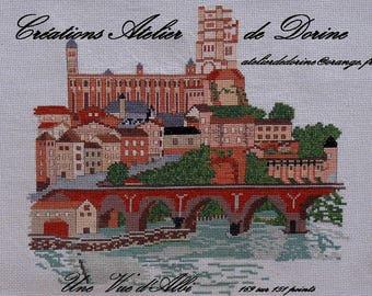 A view of Albi cross stitch card