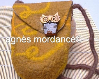bag pure wool Merino felt and its ceramic OWL - OOAK