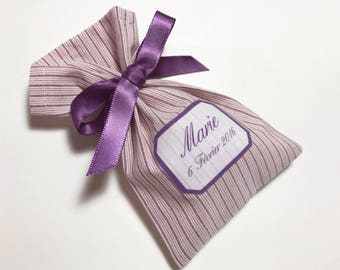 10 bags of sweets customized purple striped cotton