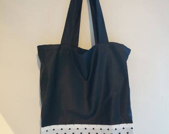 Tote two-tone black and white with small heart print