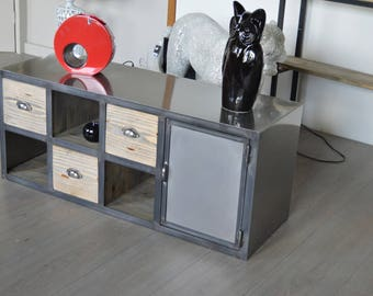 Lower cabinet Industrial 1 door 3 steel drawers solid wood