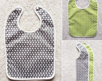 Oilcloth bib with light gray and lime green
