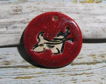 Handcrafted ceramic pendant Chinese horoscope ox red glitter