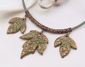 Necklace leaves made of cold porcelain