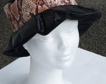 Beanie beret with Brown and black linen women rain ' eva
