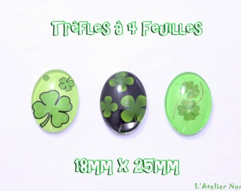 "3 cabochons pictured glass 18mm x 25mm ""Clover"""