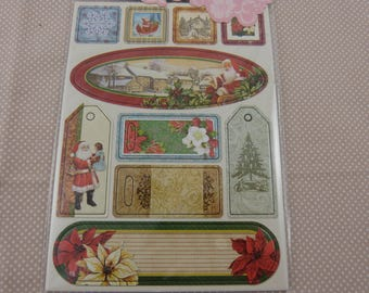 Sheet of chipboard Christmas labels