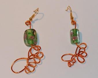 Green milleflori earrings and orange arabesques