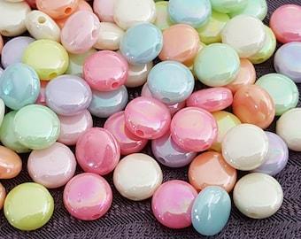 100 pearls AB pastel 8 x 3 mm smarties