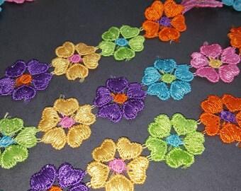 Ribbon lace flowers multicolored x 100 cm
