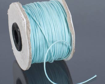5 yards - wire round waxed cotton cord • 1.5 mm light blue •