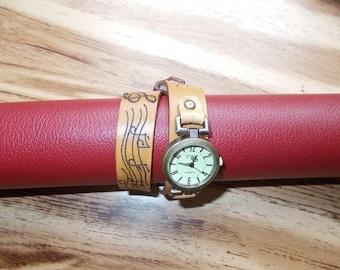 Vegetable leather, sheet music wristwatch quartz watch