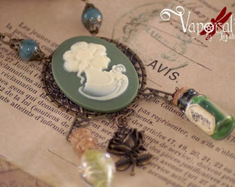 Vintage Style Cameo Necklace Steampunk Victorian jade pink potion and ceramic pearl potion jar