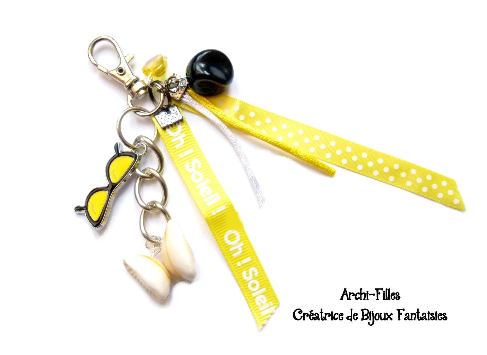 Porte cl sbijou de sac jaune lunette de soleil coquillage - Coquillage grain de cafe porte bonheur ...