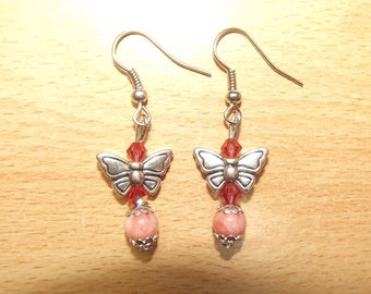 Fishing earrings with butterfly charms.