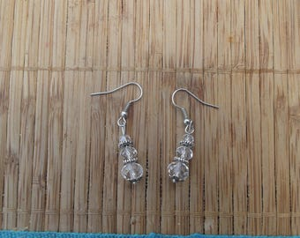 Crystal beads earrings, handmade.