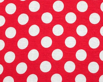 White Polka Dot on Red Cotton Jersey Blend Knit Fabric **UK Seller**