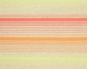 Sunrise Stripe Coral Anis Cotton Jersey Blend Knit Fabric **UK Seller**