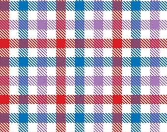 Candy Plaid Colour Trio Cotton Jersey Blend Knit Fabric **UK Seller**