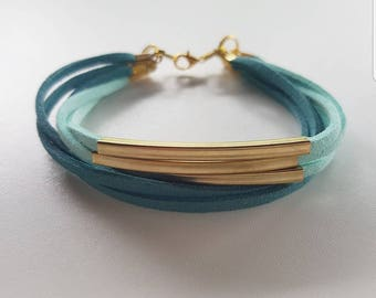 Twisted two colors faux leather bracelet