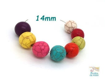 8 large Howlite beads multicolor 14mm (ph206)