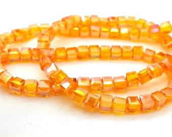 Orange: 20 cubic faceted glass AB, 4X4mm (pv644)