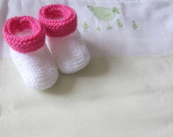 """Booties """"white and hot pink"""" birth"""
