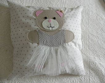 decorative pillow for child beige polka dots