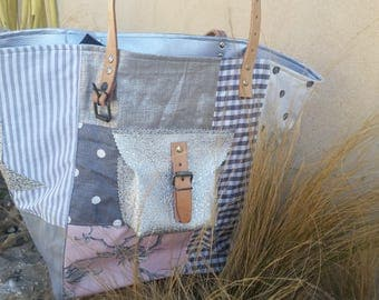 Grey and pink patchwork tote bag