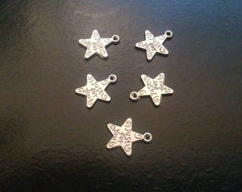 set of 20 Silver Star charms just for you