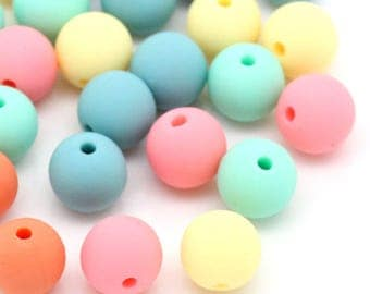 set of 10 beads in acrylic matte color mix 9 x 10 mm