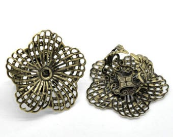 5 rings adjustable flower Bronze 18.3 mm within 15 days