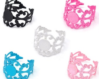 20 support ring filigree adjustable mix color 8mm tray