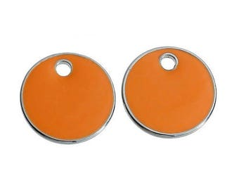 5 charm Sequins enamelled orange 16mm within 15 days