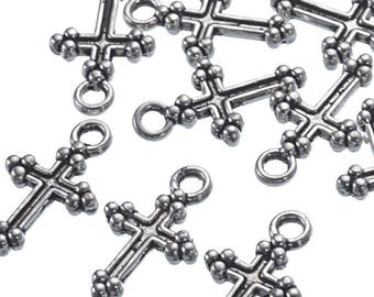 5 pendants cross 15x9mm charm