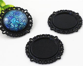 20mm 4 holders for cabochon 20 mm black