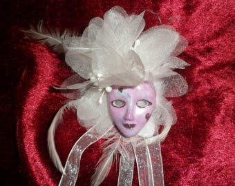 porcelain mask painted in gloss pink and white flower