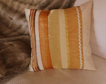 """Patchwork pillow """"Buttercup"""" fabrics, cotton, silk, polyester, in shades of yellow, Orange, ivory."""