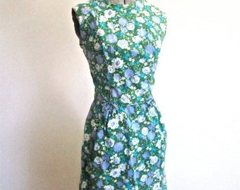 M 50s 60s Floral Cotton Wiggle Dress Blue Green Sleeveless Sexy Bow Piping Waist Day Casual Summer