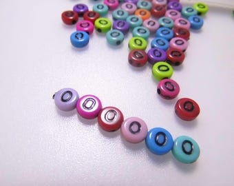 LETTERS COLORS - O - 7MM ACRYLIC BEADS